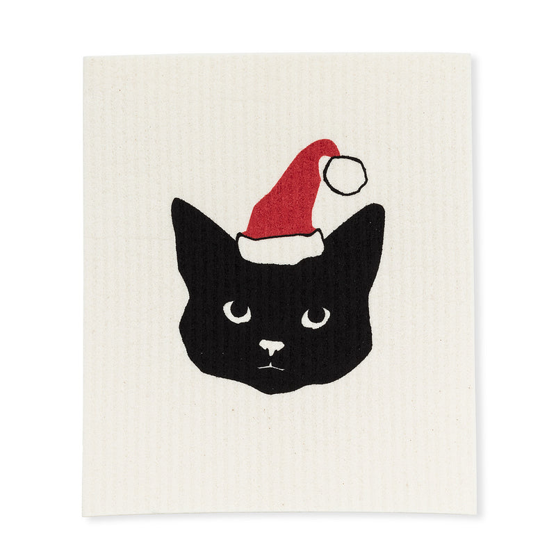Santa Cat Swedish Dish Cloths-Set of 2 | Putti Christmas