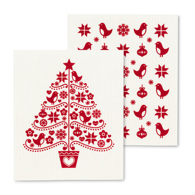 Scandinavian Tree Swedish Dish Cloths-Set of 2 | Putti Christmas Canada