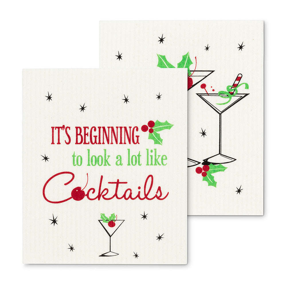 Christmas Cocktails Dish Cloths-Set of 2 | Putti Christmas Celebrations