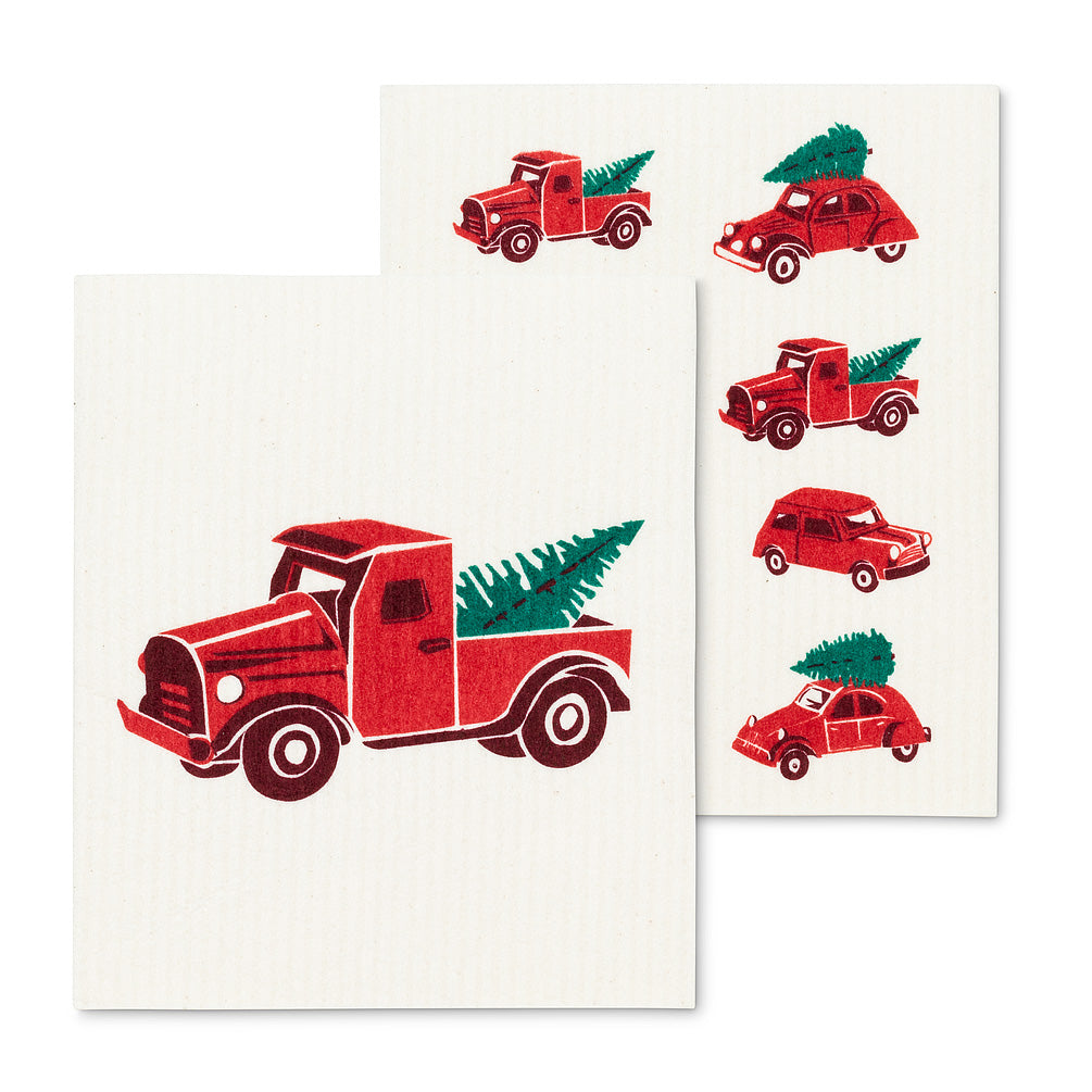 Trucks & Trees Swedish Dish Cloths-Set of 2  | Putti Christmas Canada