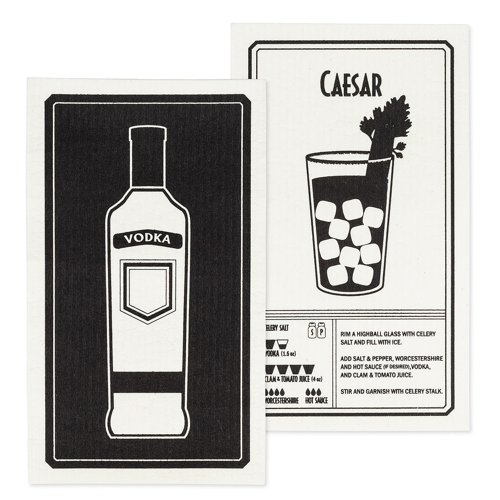 Vodka & Caesar Swedish Dish Cloths-Set of 2  | Putti Fine Furnishings