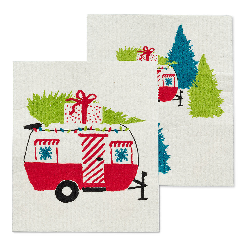 Holiday Campers Swedish Dish Cloths-Set of 2 | Putti Christmas