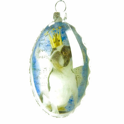 Royal Dog Glass Oval Ornament -  Christmas - PC-Pine Center - Putti Fine Furnishings Toronto Canada