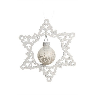 White Snowflake with Glass Ball Ornament -  Christmas - Pine Center - Putti Fine Furnishings Toronto Canada