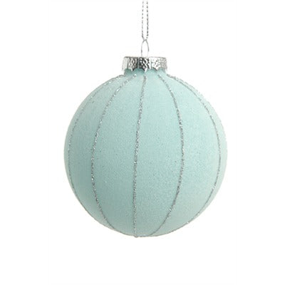 Turquoise with Silver Stripe Glass Ornament