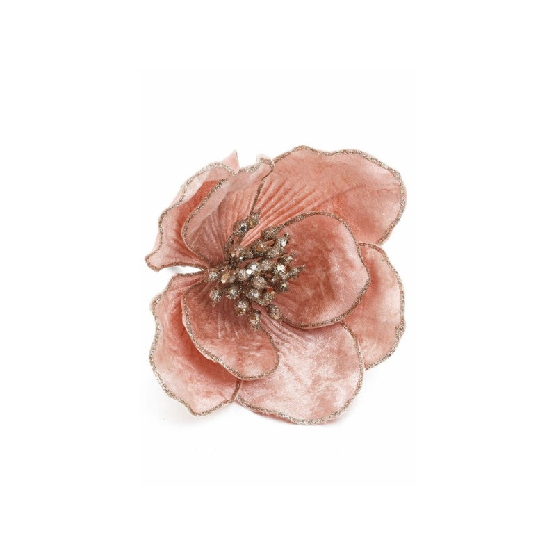 Pink Velvet Magnolia Clip Ornament | Putti Christmas Decorations