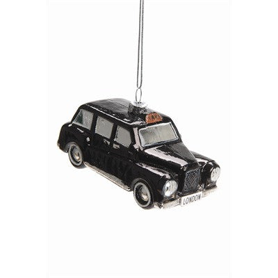 Black London Taxi Glass Ornament