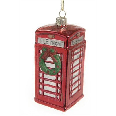 British Phone Booth with Wreath Glass Ornament -  Christmas - TPC-The Pine Center - Putti Fine Furnishings Toronto Canada