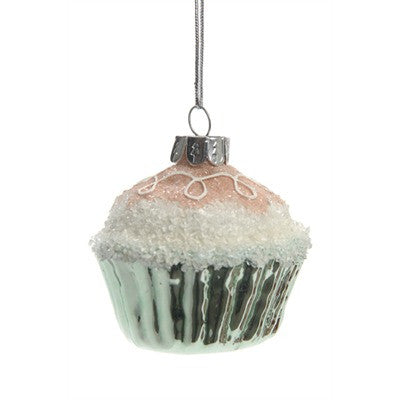 Pink Cupcake Glass Ornament