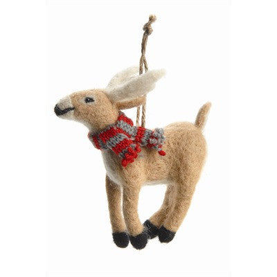 Reindeer Felted Wool Ornament - Brown -  Christmas - PC-Pine Center - Putti Fine Furnishings Toronto Canada