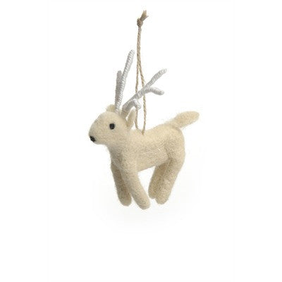 Reindeer Felted Wool Ornament - Ivory