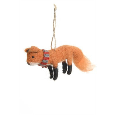 Fox with Scarf Felted Wool Ornament