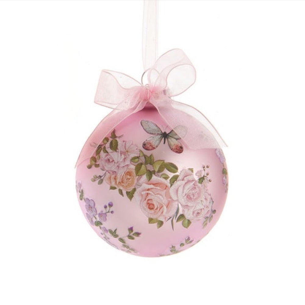 Kurt Adler Boho Chic Decal Glass Ball Ornament - Pink