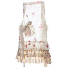 Miss Rose Sister Violet Child's Cream Floral Frill Rose Apron, MRSV-Miss Rose Sister Violet, Putti Fine Furnishings