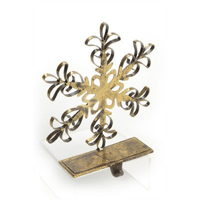 Snowflake Stocking Holder - Gold -  Christmas - TPC-The Pine Center - Putti Fine Furnishings Toronto Canada