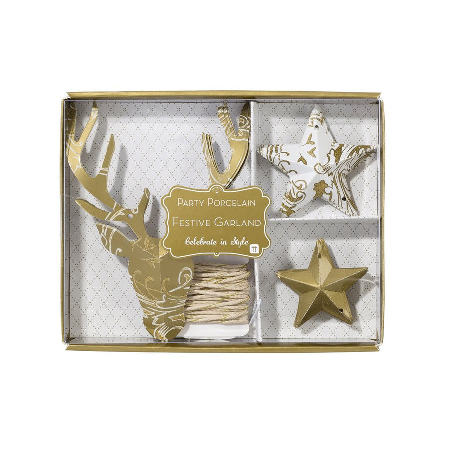 Party Porcelain Gold Stag Garland, TT-Talking Tables, Putti Fine Furnishings