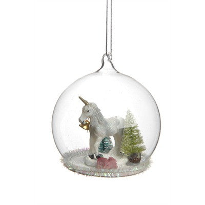 Unicorn in Glass Dome Ornament -  Christmas - PC-Pine Center - Putti Fine Furnishings Toronto Canada