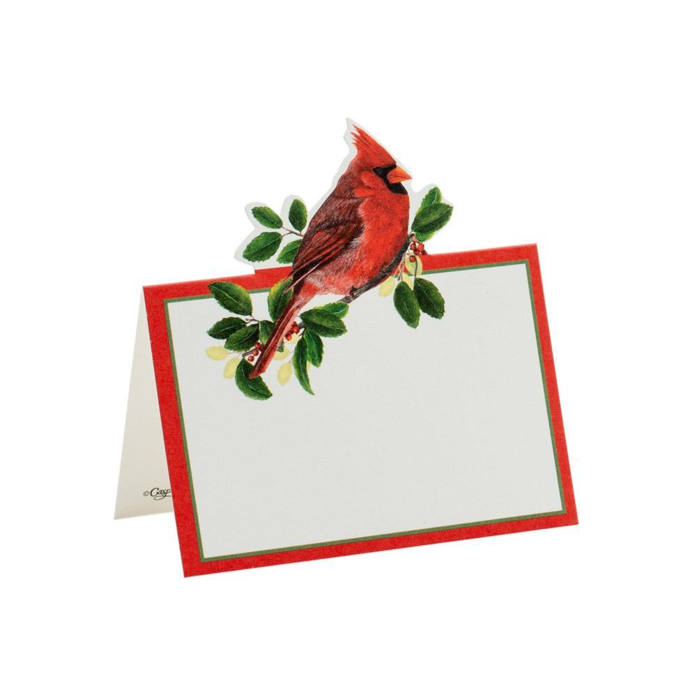 Winter Songbirds Red Cardinal Die Cut Place Card | Putti Christmas