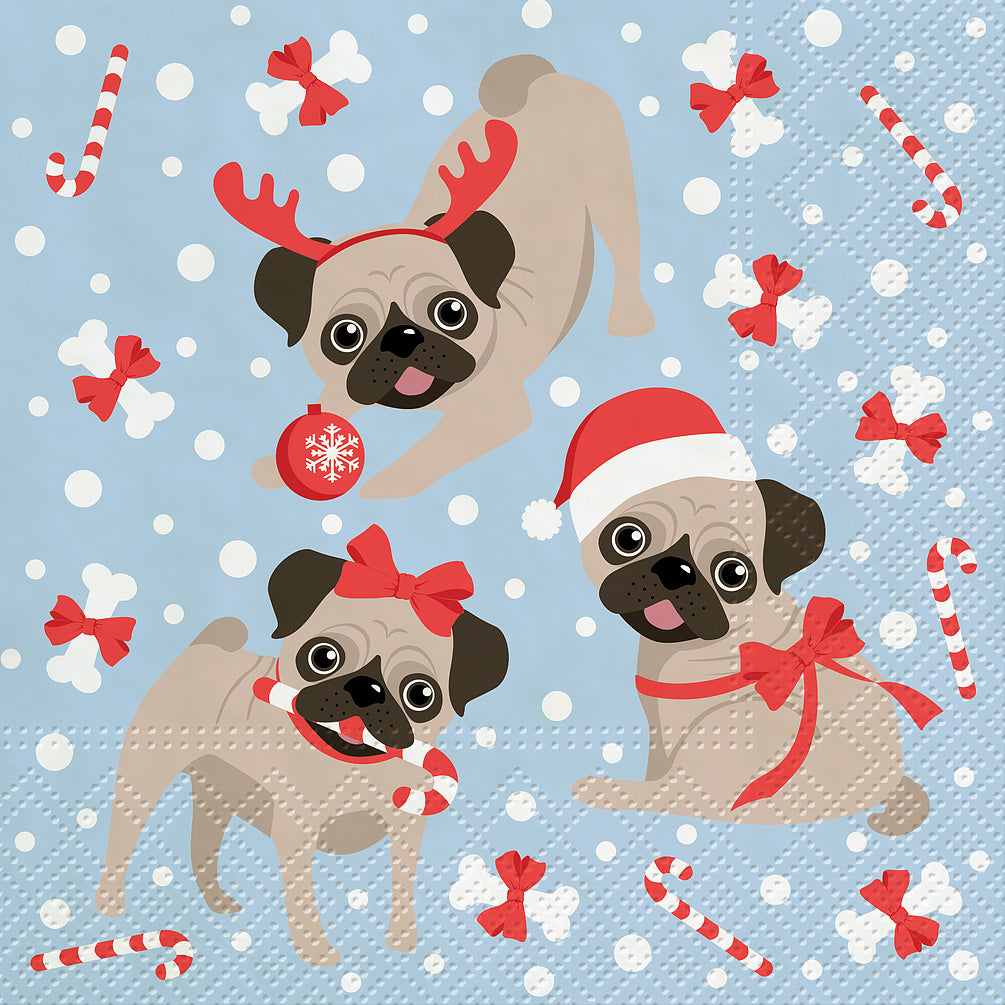 Christmas Puppies Luncheon Napkins