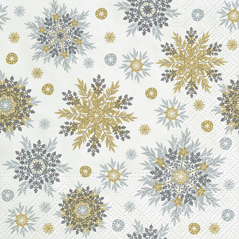 Gold and Silver Snowflakes Luncheon Napkins | Putti Christmas Celebrations