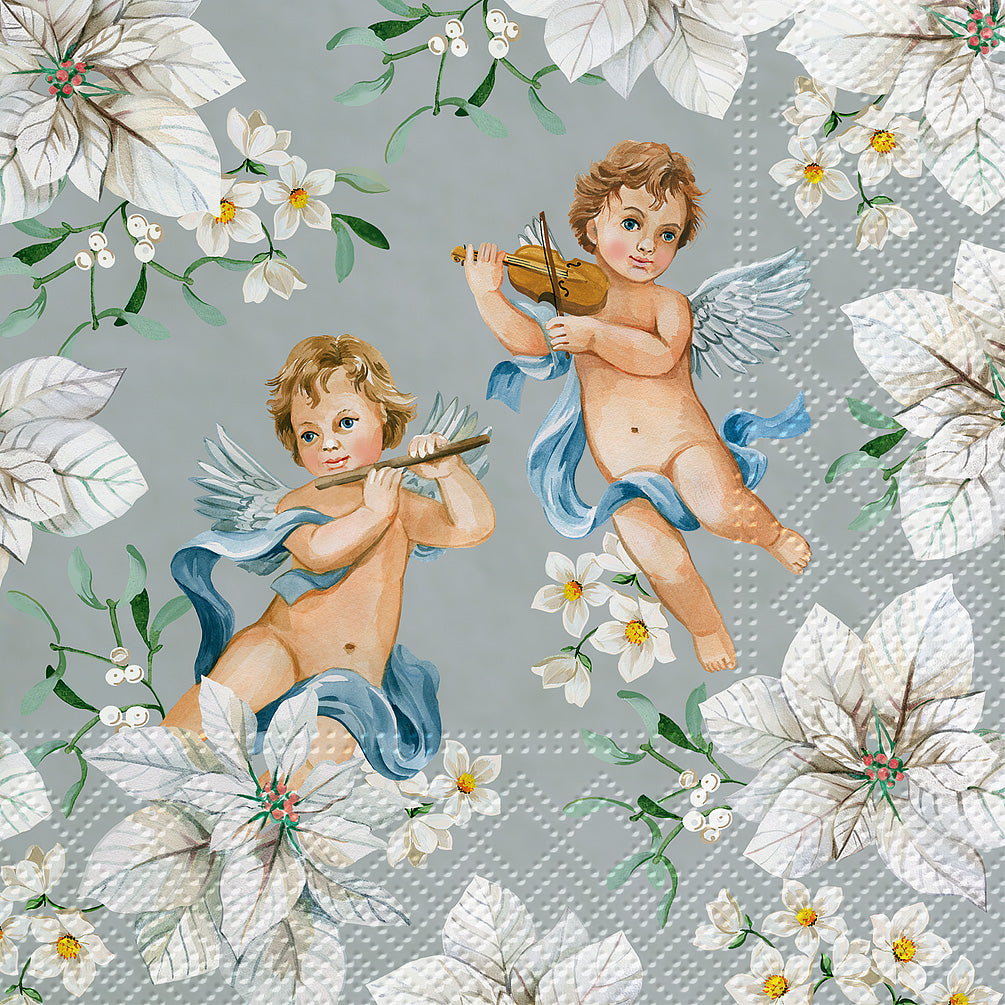 Cherubs and Flowers Luncheon Napkins - Silver