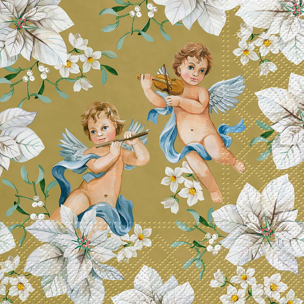 Cherubs and Flowers Luncheon Napkins - Gold | Putti Christmas Celebrations