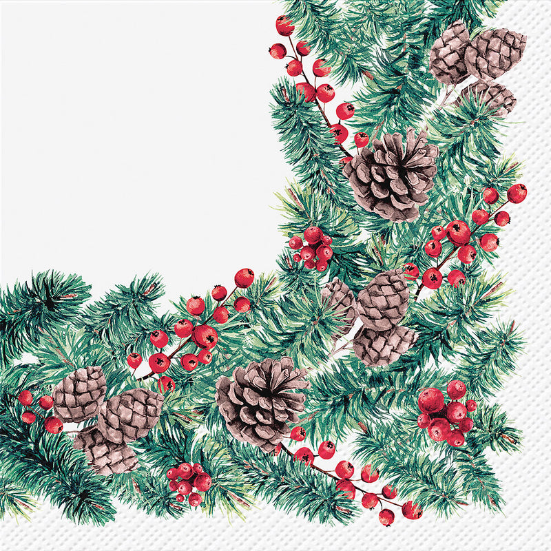 Winter Branches Round Paper Napkin - Lunch  | Putti Christmas Party Supplies