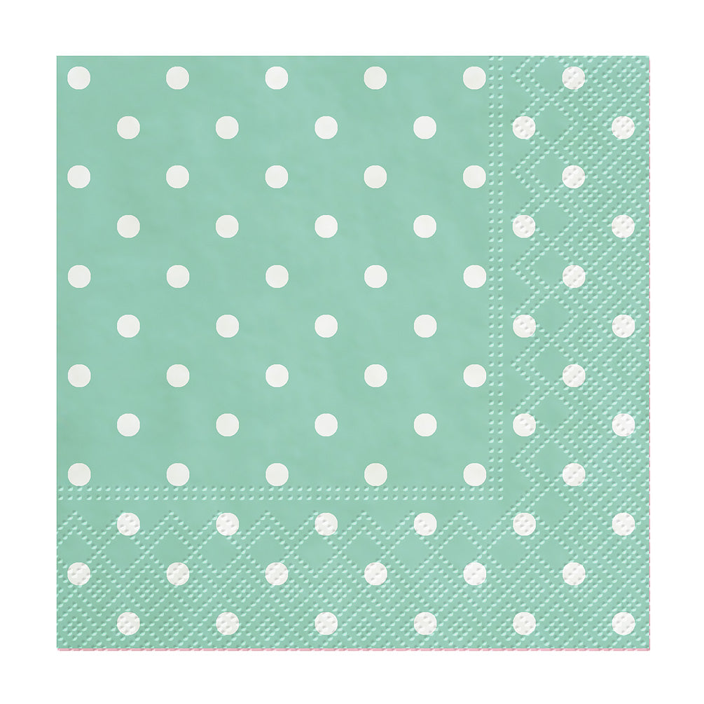 Aqua Mini Dots Cocktail Napkins | Putti Celebrations and Partyware