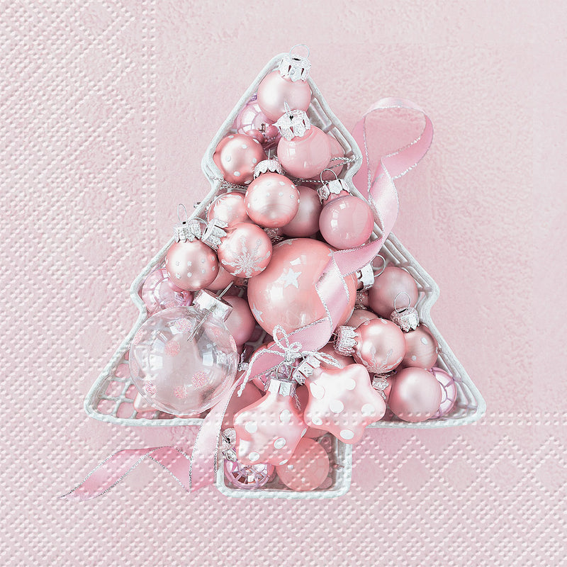 Pink Baubles Tree Paper Napkin - Lunch