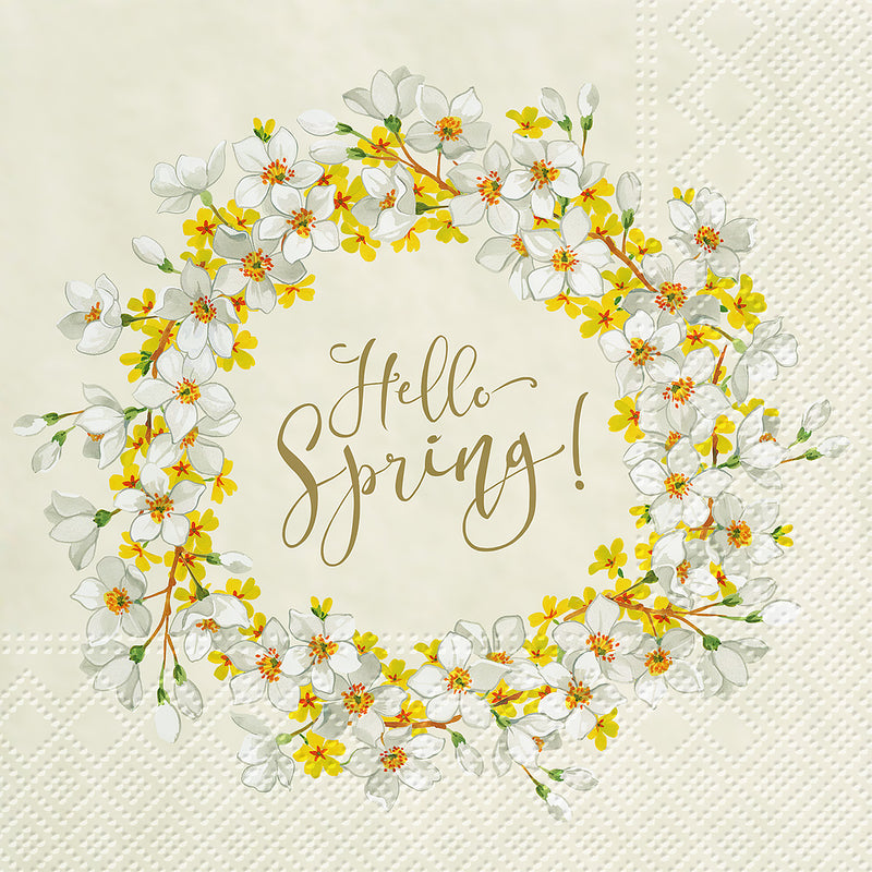 """Hello Spring"" Paper Napkins - Lunch 