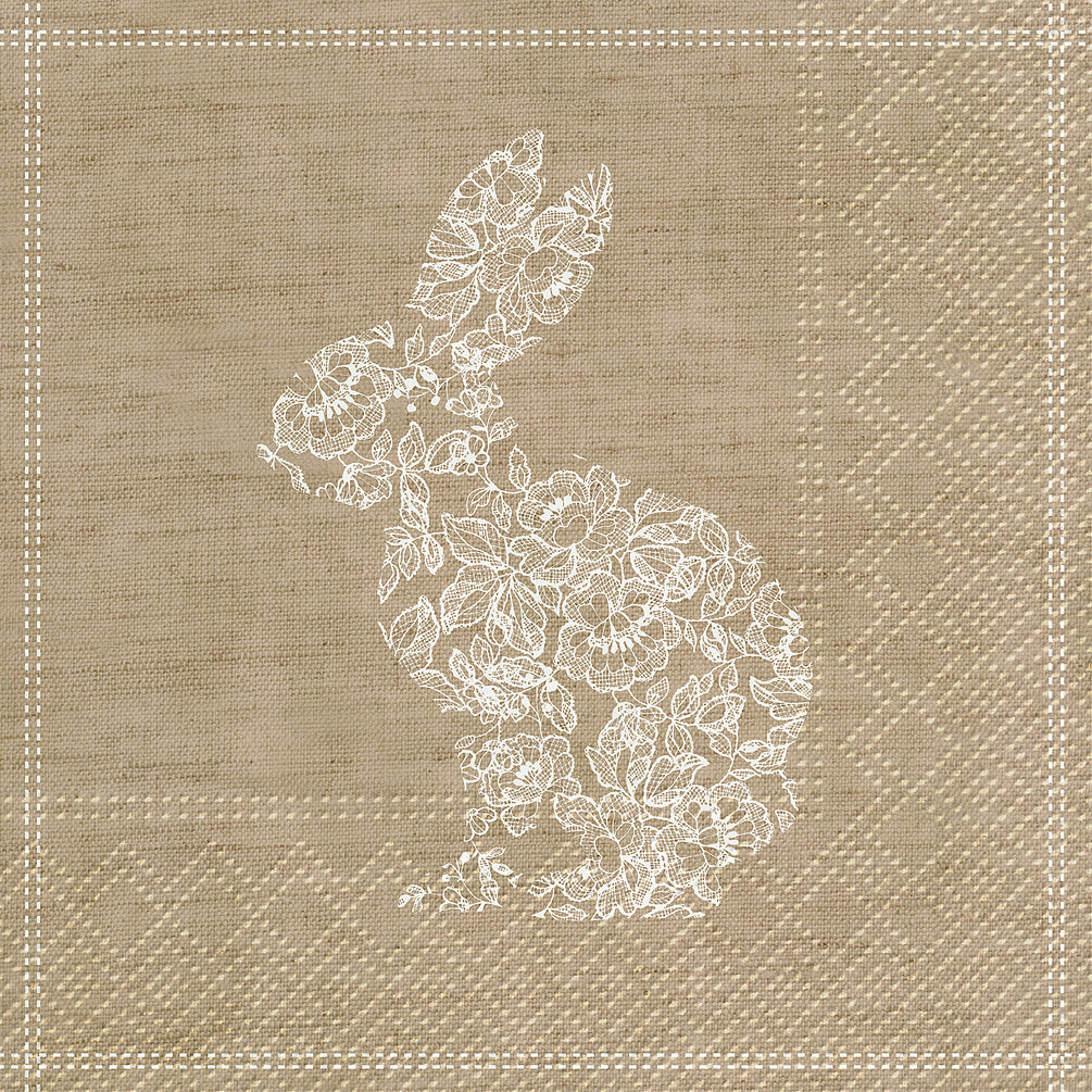 Lace Bunny Easter Paper Napkin - Lunch | Putti Celebrations Toronto Canada