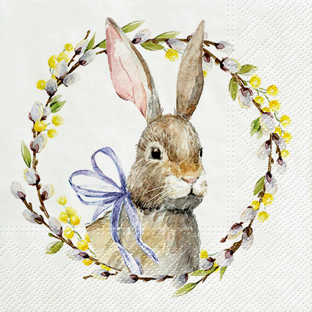 Rabbit with Pussy Willow Wreath Paper Napkins - Lunch | Putti Easter Celebrations Toronto Canada