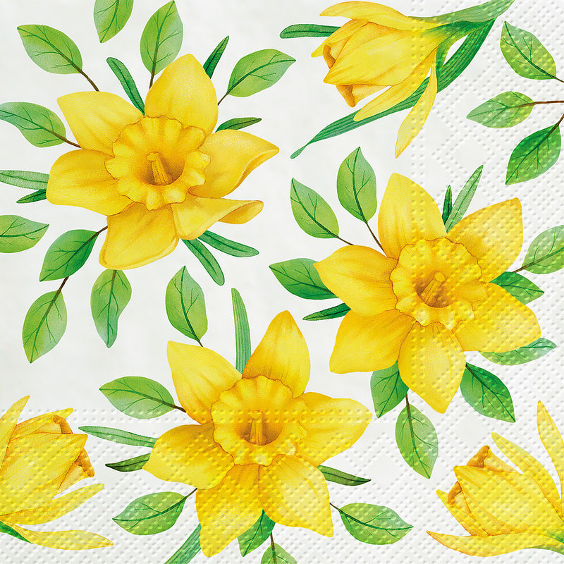 Daffodils in Bloom Paper Napkins Lunch Putti Easter Spring Celebrations Toronto Canada