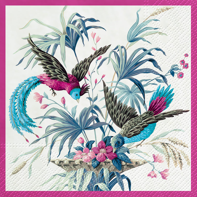 Blue Birds of Eden Paper Napkin - Lunch | Putti Party Supplies Canada