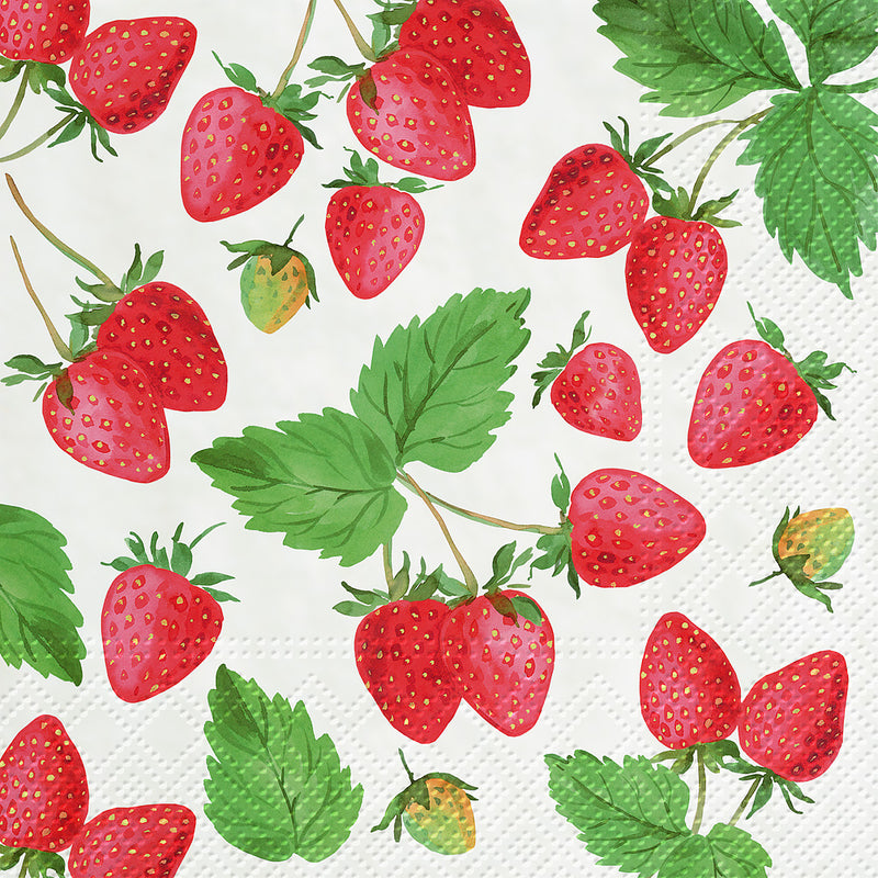 Fresh Strawberries  Paper Napkins - Lunch | Putti Party Supplies Canada