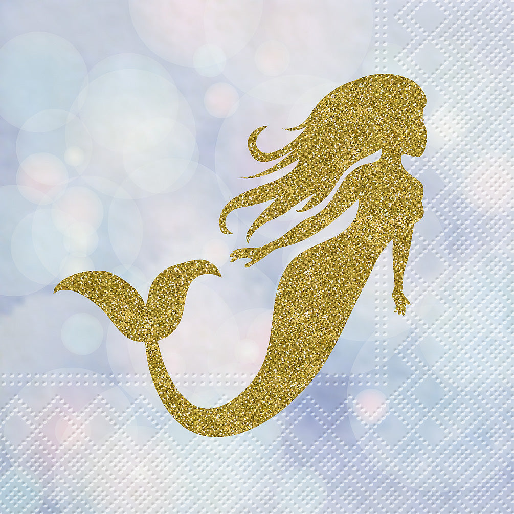 Magical Mermaid Paper Napkins - Lunch  | Putti Party Supplies Canada