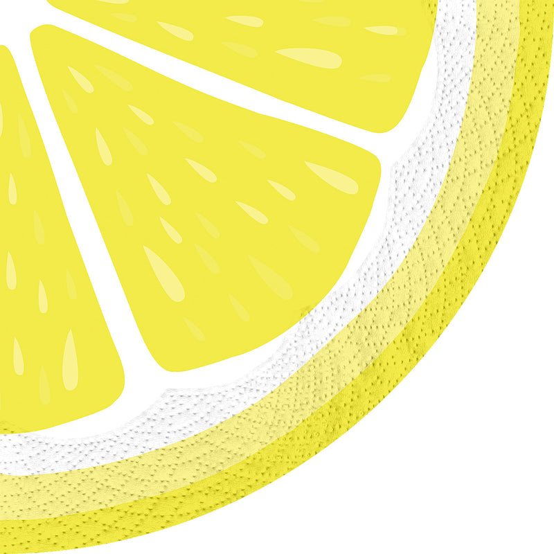 Round Lemon Yellow Paper Napkins - Lunch | Putti Partyware Canada