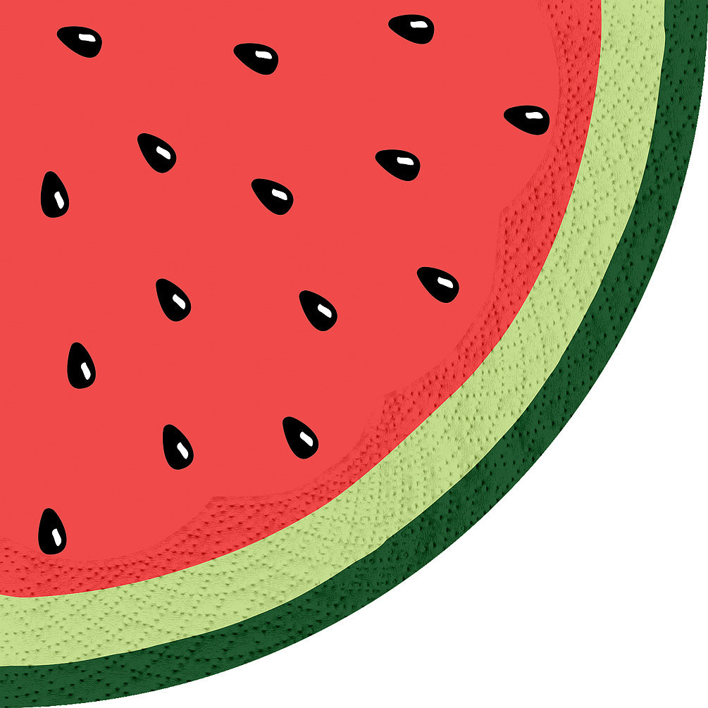Round Watermelon Slice Paper Napkins - Lunch | Putti Partyware Canada