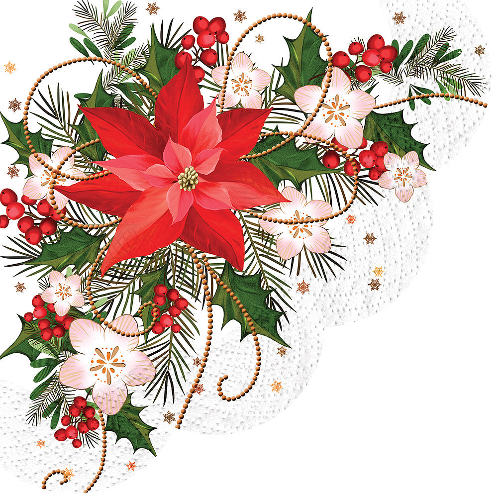 Poinsettia Round Paper Napkin - Lunch