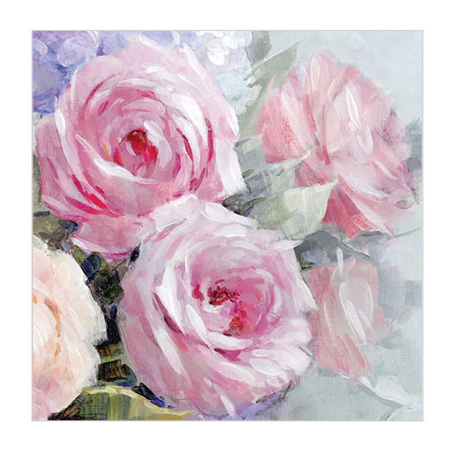 "Pink ""Julia"" Cabage Rose Luncheon Napkins"
