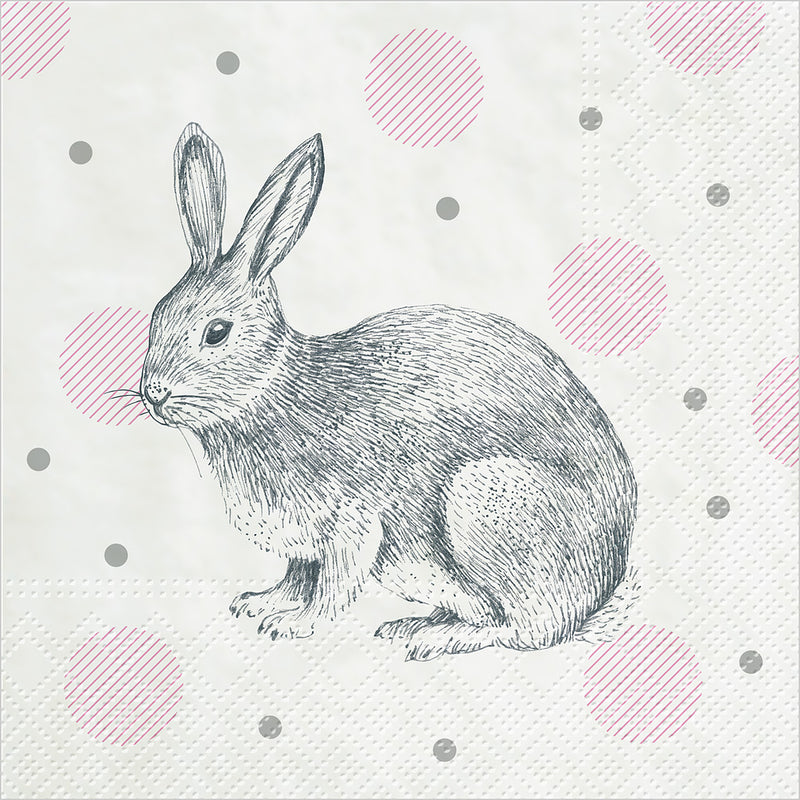 """Bunnies & Dots"" Easter Rabbit Napkins Lunch 