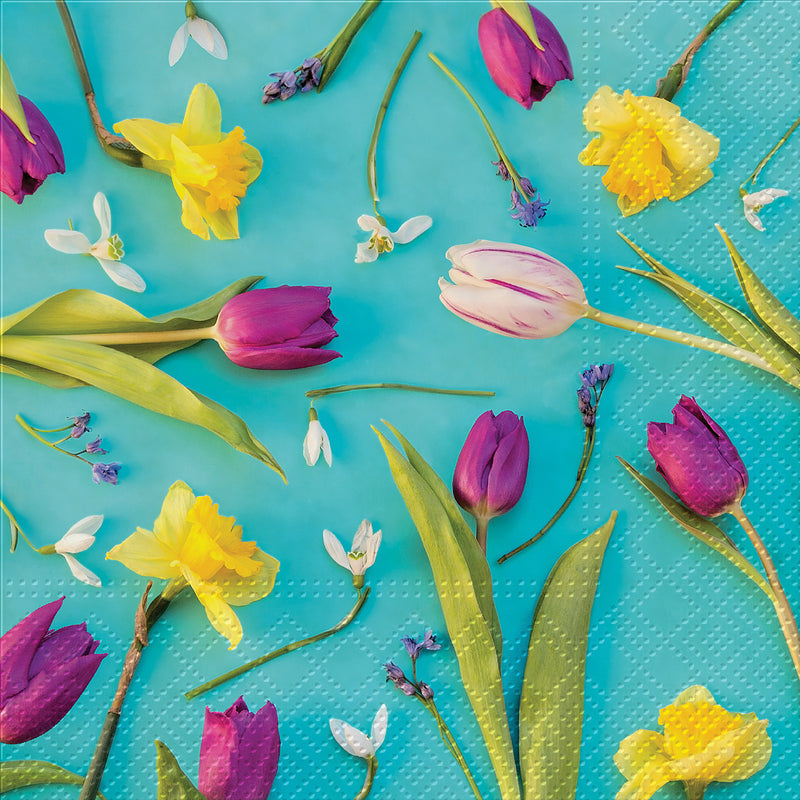 Spring Flowers Paper Napkins - Lunch, AC-Abbott Collection, Putti Fine Furnishings