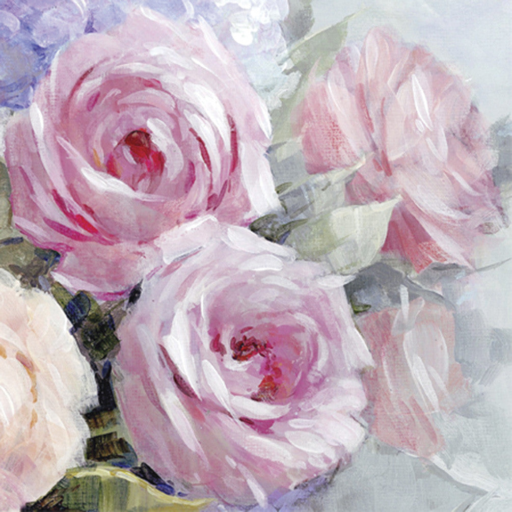 "Pink ""Julia"" Cabage Rose Luncheon Napkins, AC-Abbott Collection, Putti Fine Furnishings"