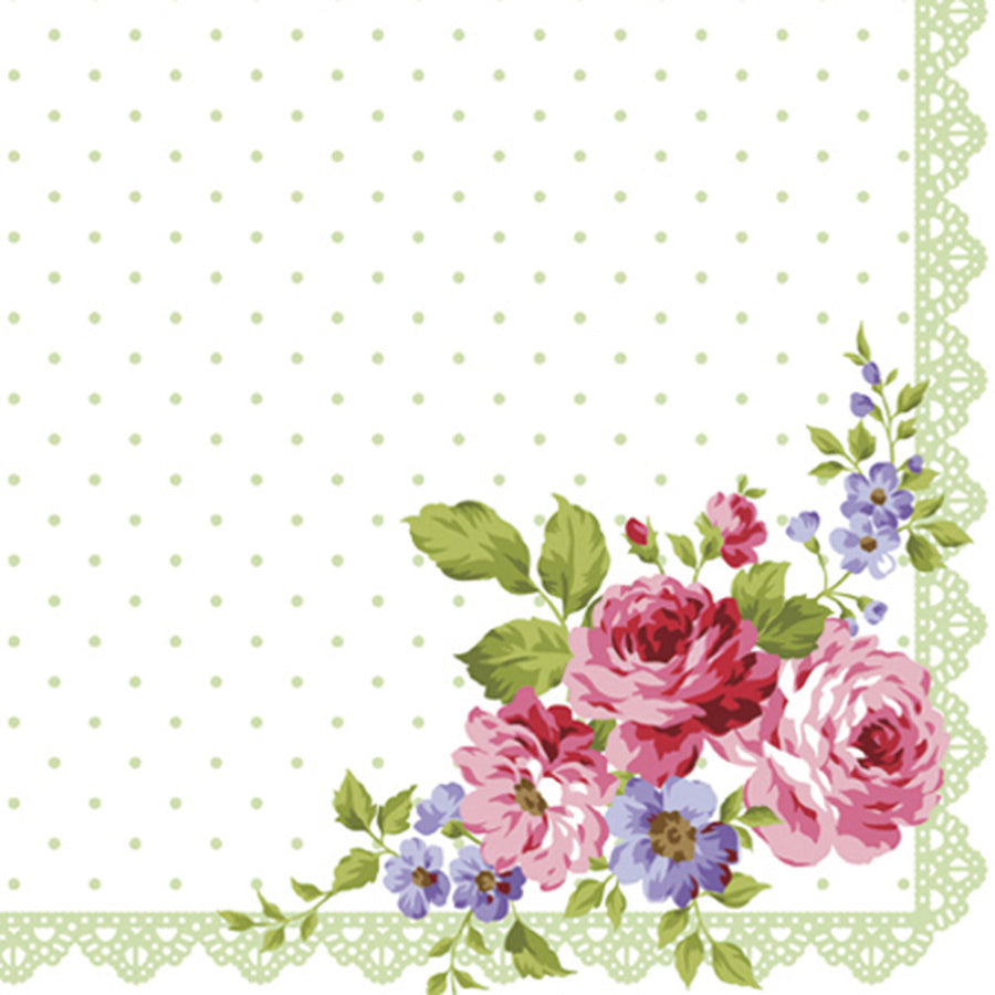 Green Dot Floral  Luncheon Napkins