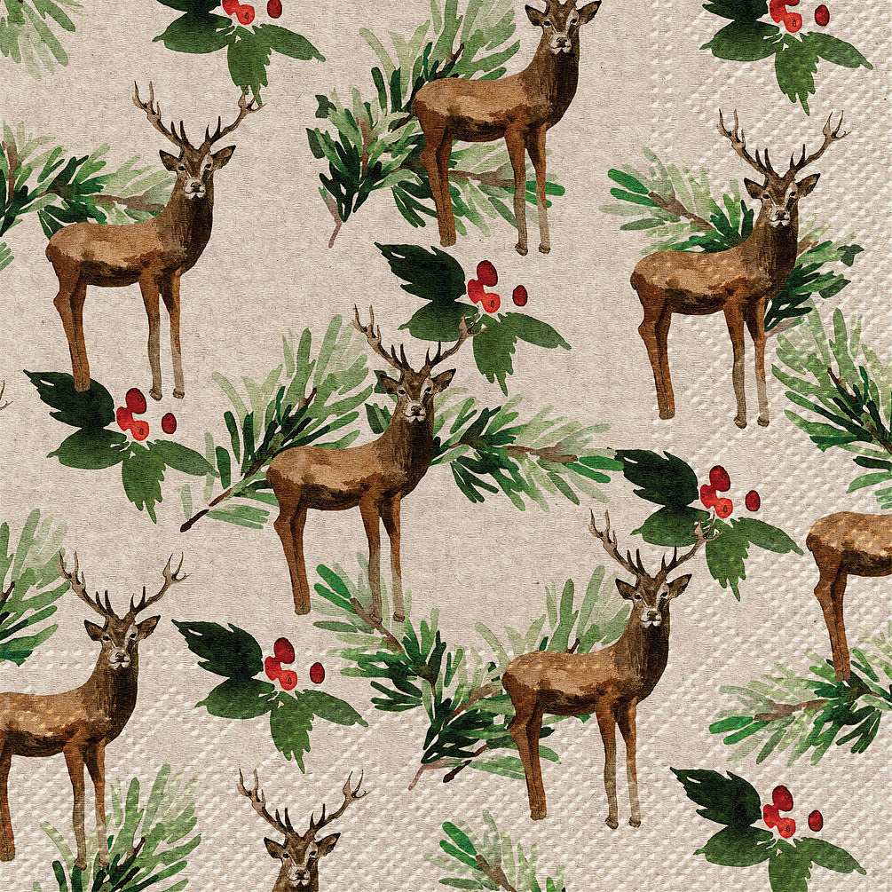 Deer and Holly Paper Napkin - Lunch | Putti Christmas Party Supplies
