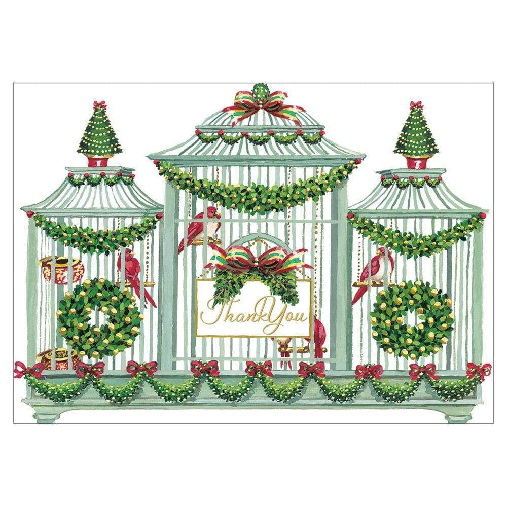 Birdcage Thank You Cards - 8 Blank Invitations & Envelope | Putti Christmas Canada