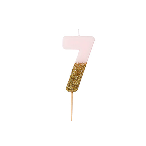 """We Heart Birthdays"" Pink Glitter Number Candle - Seven"