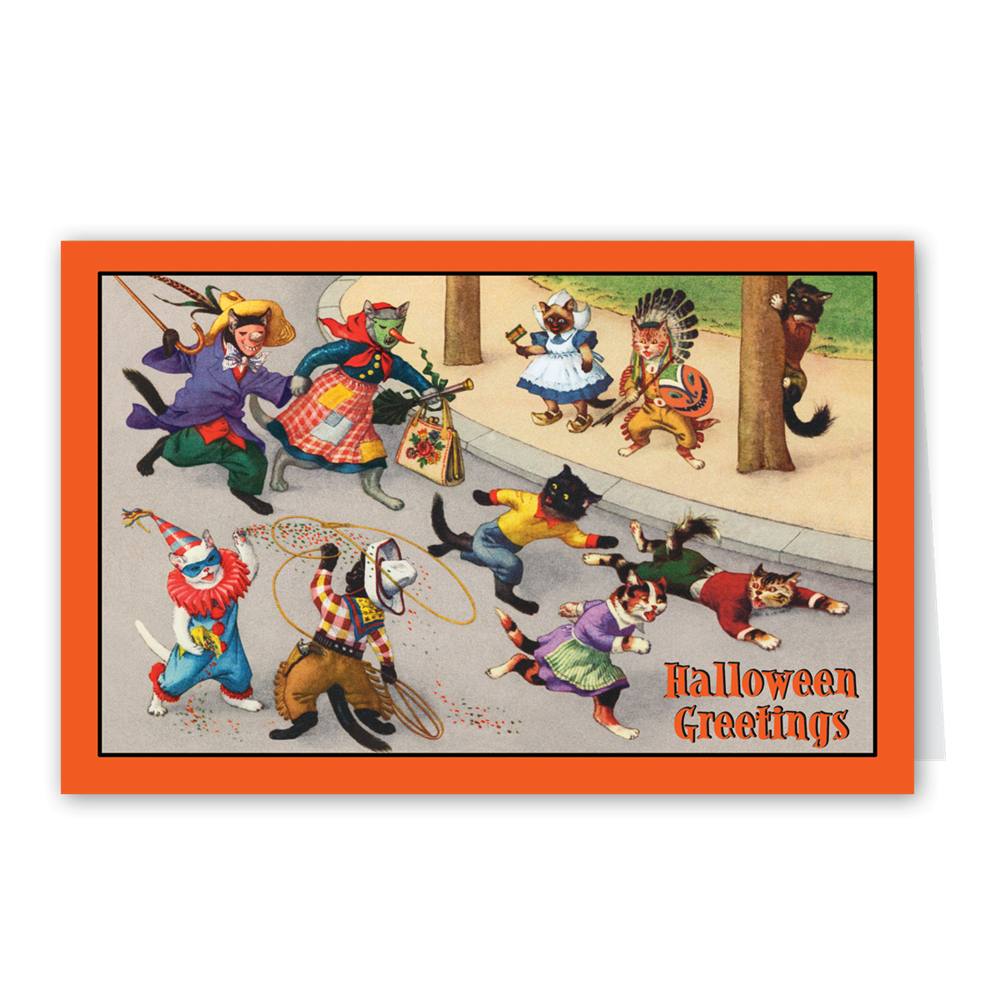 """Trick or Treat Tabbies"" Halloween Greeting Card -  Stationary - Old World Christmas - Putti Fine Furnishings Toronto Canada"