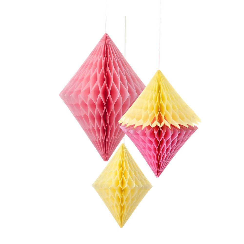 Decadent Decs Yellow & Pink Honeycomb Diamonds-Decorations-TT-Talking Tables-Putti Fine Furnishings