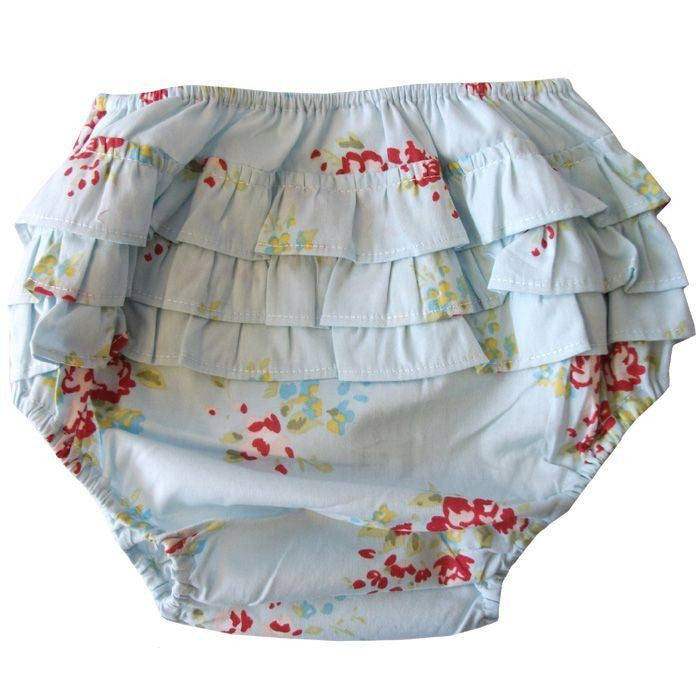 Blue Mixed Floral Frilly Knickers-Children's Clothing-PC-Powell Craft Uk-Putti Fine Furnishings